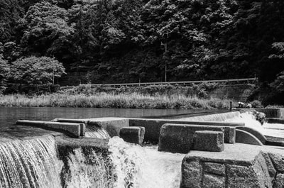 福井県  Fukui Prefecture Dam Weir Water Concrete Mountains Forest Road A. Henry Rose UTSOA University of Texas Austin School of Architecture Japan Japanese 35mm Film Photography 日本