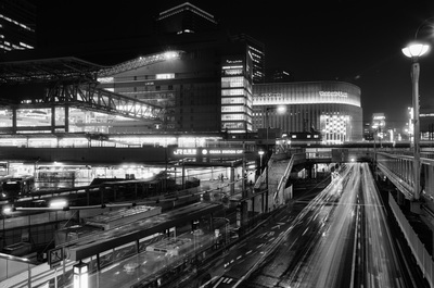 大阪駅 JR Station, Osaka Night City Traffic Cars Busses Long Exposure A. Henry Rose UTSOA University of Texas Austin School of Architecture Japan Japanese 35mm Film Photography 日本